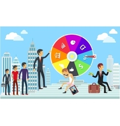 Wheel of business fortune concept vector