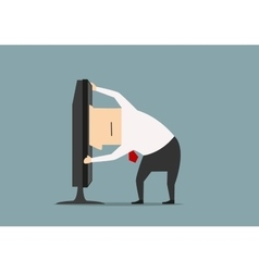 Businessman stuck in computer monitor vector