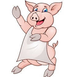 Pig wearing apron vector