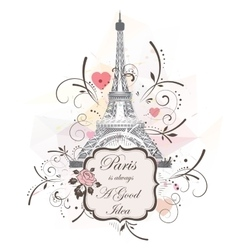 Eiffel tower romantic background vector