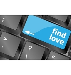 A keyboard with a find love button - social vector