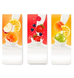 Three labels with different fruit falling into vector