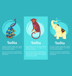 Animal symbols of india on set of posters vector