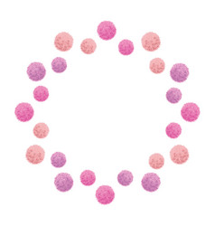 Baby girl pink birthday party pom poms vector