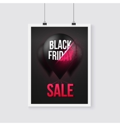 Black friday sale poster air balloon template with vector