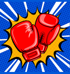 boxing gloves pop art style vector image vector image