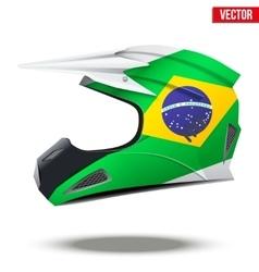 Brazil flag on motorcycle helmets vector