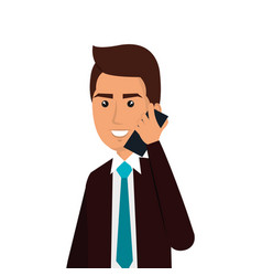 Businessman avatar with cellphone icon vector