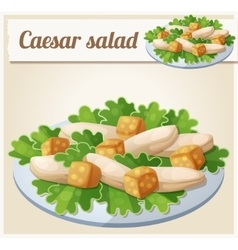 Caesar salad detailed icon vector