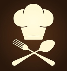 Chef Symbol and Cutlery vector image