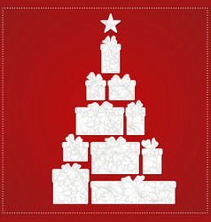 Christmas tree made from gift box and bow on the vector