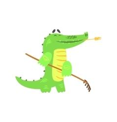 Crocodile gardening with rake humanized green vector