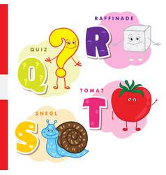 danish alphabet question sugar snail tomato vector image