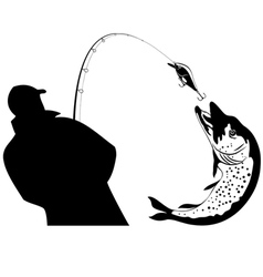 Fishing fisherman and pike vector image vector image