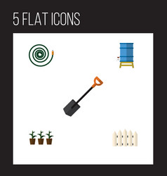 Flat icon dacha set of hosepipe spade flowerpot vector
