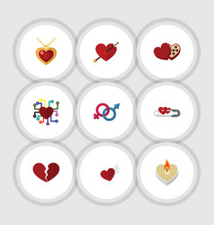 Flat icon passion set of shaped box emotion vector
