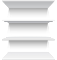 Four white realistic shelves vector image