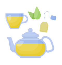 Green tea flat icon set vector