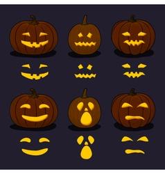 Halloween Pumpkins on Dark Background vector image vector image
