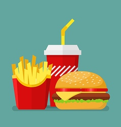 Hamburger french fries and soda vector