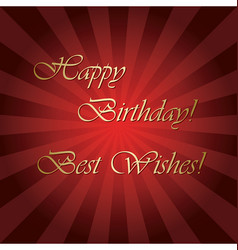 Happy birthday and best wishes - red card vector