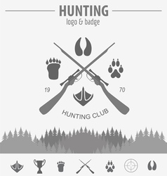 Hunting logo and badge template Equipment Flat vector image