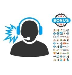 Operator Message Icon With 2017 Year Bonus Symbols vector image