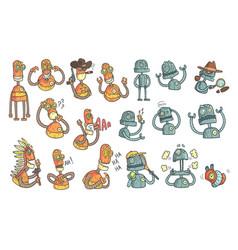 orange robot set of cartoon outlines portraits vector image vector image