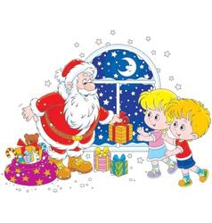 Santa and kids vector image vector image