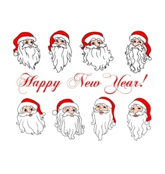 Santa Claus laughing faces icon set vector image vector image