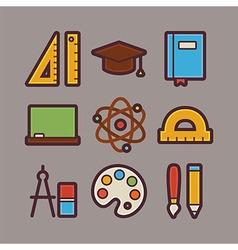 School and education items modern flat icons set vector