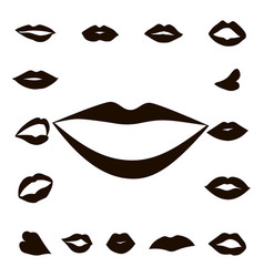 set lips girl silhouette vector image
