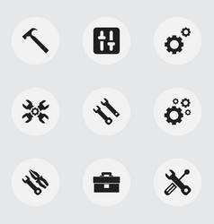Set of 9 editable mechanic icons includes symbols vector