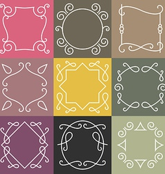 Set of outline borders and frames abstract hipster vector