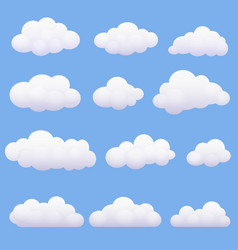 Soft cartoon clouds set on the blue background vector image