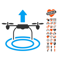 start drone icon with dating bonus vector image vector image
