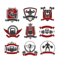 Weightlifting powerlifting gym sport club icons vector image vector image
