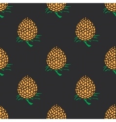 Young pineapple on dark background seamless vector