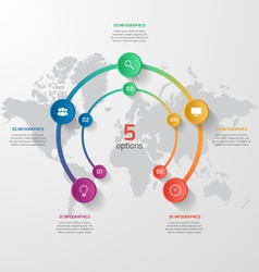 circle infographic template with 5 vector image