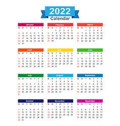 2022 year calendar isolated on white background vector