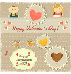 Vintage valentines day card with sweet hearts vector