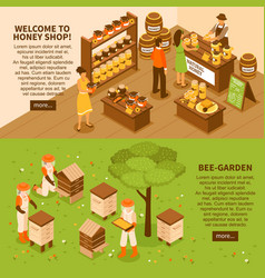 honey yard isometric banners set vector image