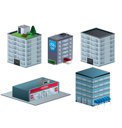 Building isometric set isolated vector