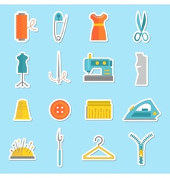 Sewing equipment stickers vector