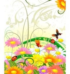 Butterfly on flowers vector