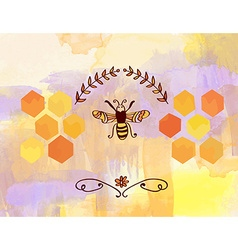 Background for honey with bee and cells vector