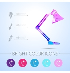 Table-lamp icon with infographic elements vector