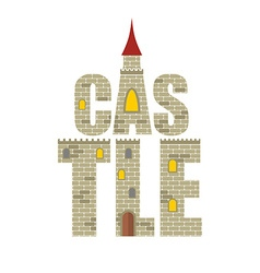 Castle with red tower letters from the stones vector