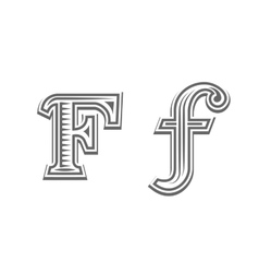 Font tattoo engraving letter f vector