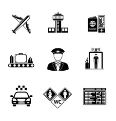 Set of airport icons - airplane airport passport vector